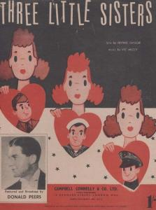Three Little Sisters Donald Peers 1950s Sheet Music