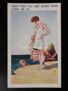 Fred Buchanan RARE c1930's M&L SAMPLES PC Seaside Theme NEXT TIME YOU ARE HERE..