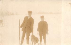 A30/ HUNTING Hunter GUN Rifle Real Photo RPPC Postcard c1910 Child Dog Snow 16