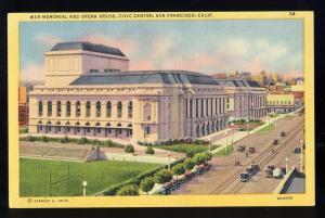 San Francisco, CA Postcard, War Memorial & Opera House
