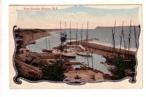 Tall Ships in Port Greville Harbor, Nova Scotia, Fancy Rope Border Used 1908