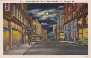 Virginia Roanoke Campbell Avenue Looking East At Night