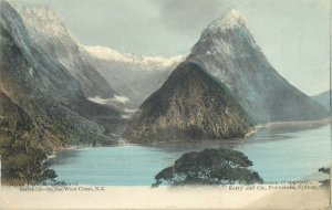 New Zealand – Mitre Peak from Sutherlands – Milford Sound 1906 postcard