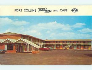 Unused Pre-1980 OLD CARS & TRAVELODGE MOTEL Ft. Fort Collins Colorado CO u0621