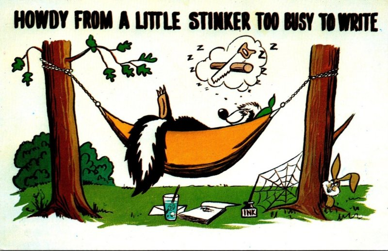Humour Skunk Sleeping In Hammock Howdy From A Little Stinker Too Busy To Write