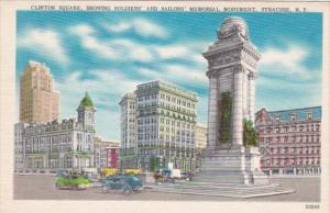 New York Syracuse Clinton Square Showing Soldiers and Sailors Monument