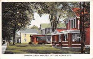 Sturgis Michigan~Nottowa Street Homes~Residence Section~1919 Postcard