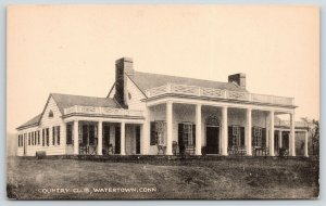 Watertown Connecticut~Colonial Style Country Club~Veranda~1930s Sepia Collotype