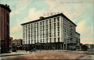 Lansing Michigan~Trolley at Hotel Downey~Credit Clothing Store~Horse Buggy~1909