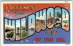 Large Letter Linen WILDWOOD BY THE SEA, NEW JERSEY NJ  Curteich c1940s Postcard