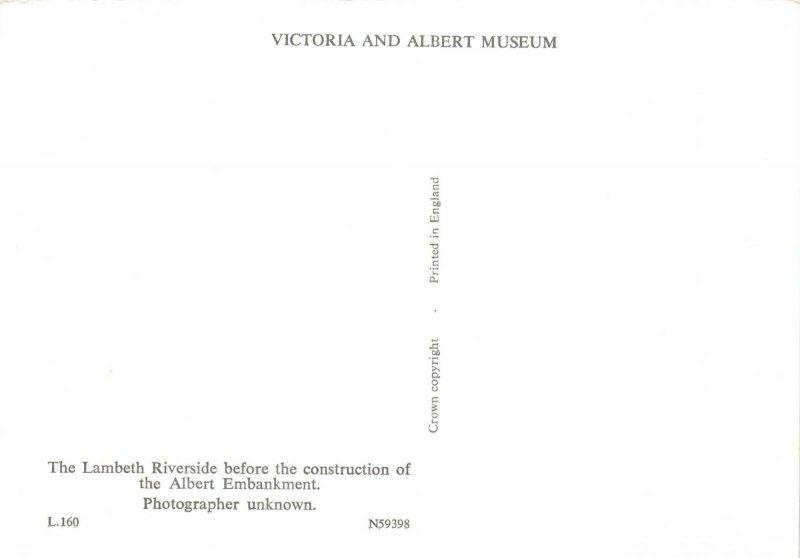 Victorian London reproduction Postcard, The Lambeth Riverside, River Thames 00X