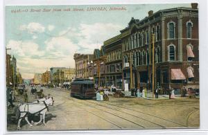 O Street East from 10th Streetcar Lincoln Nebraska 1909 postcard