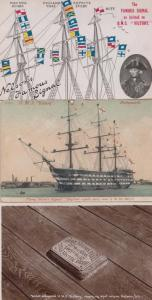 HMS Victory Nelsons Famous Signal + Where He Died 3x Postcard Bundle