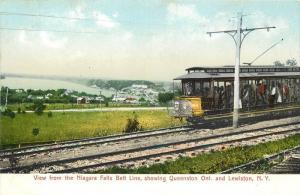 Trolley. Niagra Falls Belt Line Showing Queenstown Ont & Lewiston NY Postcard