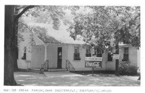 Camp Chesterfield Indiana Ice Cream Parlor Coke Sign Real Photo PC JI658527