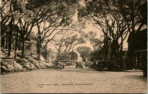 Vtg Postal C 1930s - Lower Calle Principal - Nantucket, Massachusetts - sin Usar
