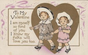VALENTINE´S DAY; 1900-10s; Little boy & girl holding hands surrounded by heart