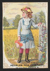 VICTORIAN TRADE CARD Peoples Tea Lady by Fence
