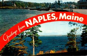 Maine Greetings From Naples View Along Causeway & Long Lake