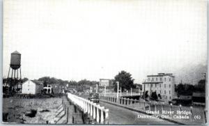 Dunnville, Ontario Canada Postcard GRAND RIVER BRIDGE Street View 1944 Cancel