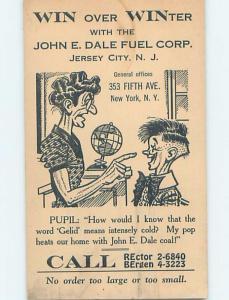 1930's POSTCARD AD - JOHN DALE FUEL CORPORATION Jersey City New Jersey NJ F0391