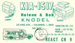 Vintage QSL Postcard   KIA 1517   Columbus, Ohio   Helene & Bob Knodel   -T-