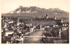 Switzerland Old Vintage Antique Post Card Luzern Kirche St Karli gegen Rigi U...