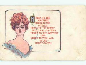 Divided-Back PRETTY WOMAN Risque Interest Postcard AA7851