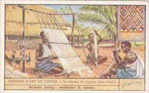 Liebig Trade Card S1437 Congolese Craftmanship No 1 Le tissage du raphia