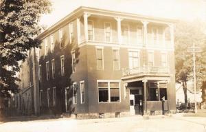 Three Rivers Michigan~3 Rivers House Hotel~Ladder on Porch~Horse Wagon~1914 RPPC