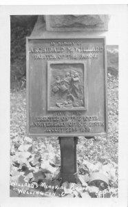 G70/ Wellington Ohio RPPC Postcard c50s Willards Memorial Plaque 2