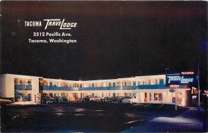 Tacoma Washington~Neon Night Travelodge~Downtown on Pacific Ave 1950s Postcard