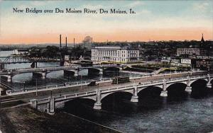 Iowa Des Moines New Bridges Over Des Moines River 1916