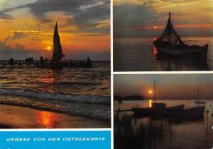 Gruesse von der Ostseekueste Fishing Boats Sunset Bateaux