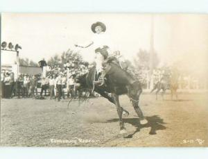Pre-1950 rppc RODEO COWBOY Ellensburg - Near Yakima Washington WA i9994