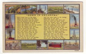 PC53 JLs 1943 postcard down in oklahoma multiple oil wells