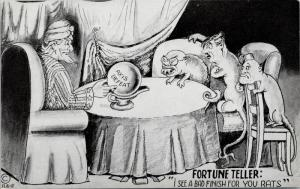USA War Patriotic Fortune Teller Axis Defeat Bad Things For Rats Postcard E37