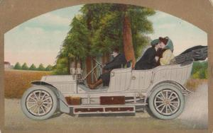 A Moment Of Bliss Romantic Comic Kissing In Classic Car Automobiling Postcard