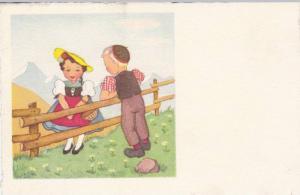 Swiss Couple, Blond Boy Talking to Brunette Girl in Yellow Hat Across Wooden ...