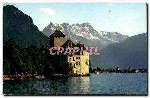 Switzerland Postcard Old Lake Geneva Chillon Castle and the teeth of the south