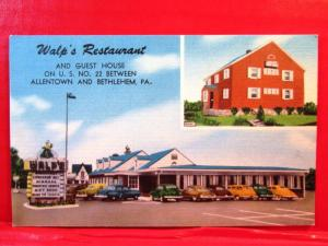 Postcard PA Walp's Restaurant & Guest House US 22 Between Allentown & Bethlehem