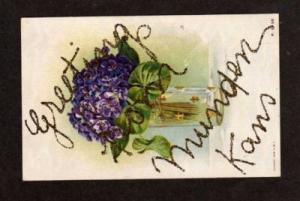 KS Greetings from MUNDEN KANSAS Glitter Postcard PC