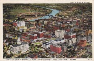 Aeroplane View Of Nashville Tennessee Showing State Capitol And Memorial Squa...