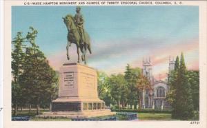 South Carolina Columbia Wade Hampton Monument and Glimpse Of Trinity Episcopa...