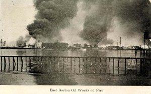MA - East Boston. Oil Works on Fire circa 1908