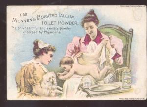 MENNENS BORATED TALCUM TOILET POWDER NEWARK NJ VICTORIAN TRADE CARD