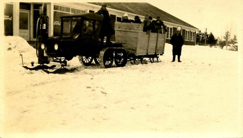 NH - West Ossippee, Feb. 1924. Frank Littlefield, His Snowmobile & Friends.  ...