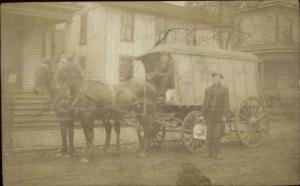 Ice Advertising Wagon & Men - Man Holding Ice Block c1910 Real Photo Postcard