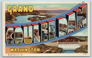 Postcard WA Large Letter Greetings From Grand Coulee Dam Vintage Linen P10