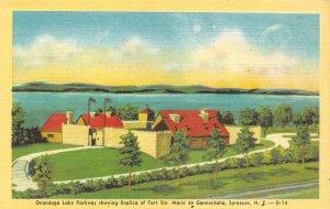 SYRACUSE, NY New York  FORT STE MARIE DE GANNENTAHA~Replica  c1940's Postcard